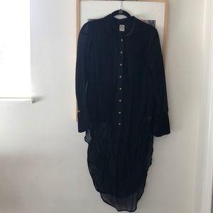 Anthropologie black velvet tunic